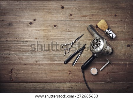vintage barber equipment on...