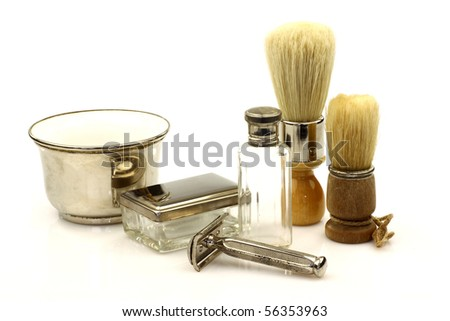 vintage  barber tools on a white background