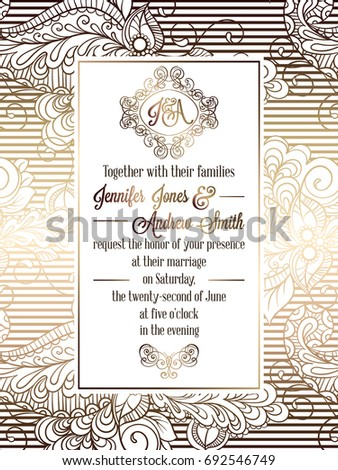 Vintage baroque style wedding invitation card template.. Elegant formal design with damask background, traditional decoration for wedding. Gold on white background #692546749