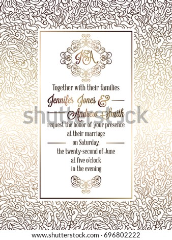 Vintage baroque style wedding invitation card template.. Elegant formal design with damask background, traditional decoration for wedding. Gold on white background #696802222