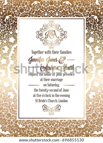 Vintage baroque style wedding invitation card template.. Elegant formal design with damask background, traditional decoration for wedding #696855130