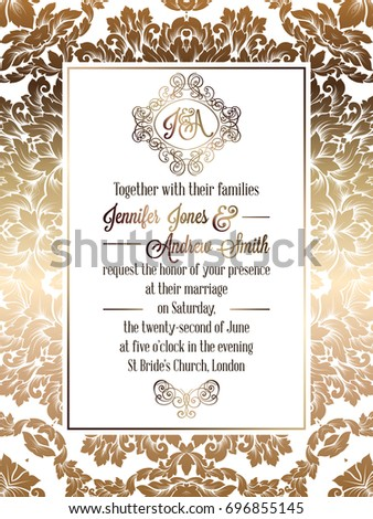 Vintage baroque style wedding invitation card template.. Elegant formal design with damask background, traditional decoration for wedding #696855145