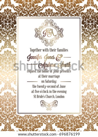 Vintage baroque style wedding invitation card template.. Elegant formal design with damask background, traditional decoration for wedding #696876199