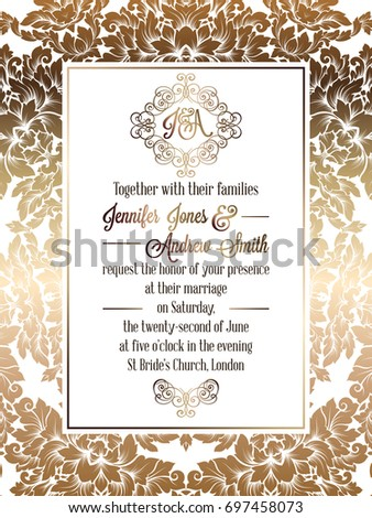 Vintage baroque style wedding invitation card template.. Elegant formal design with damask background, traditional decoration for wedding #697458073