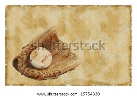 Vintage baseball glove and ball background