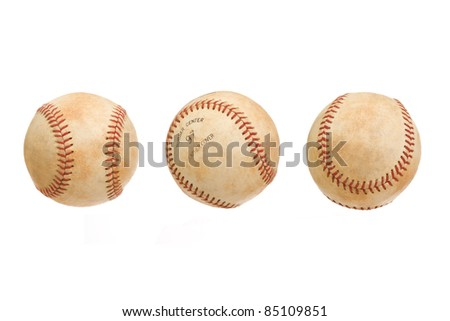 Vintage Baseball in Three Views Isolated on a White Background