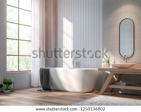 Vintage bathroom 3d render,There are wood floor,white brick and vertical wood plank wall ,Decorate with wooden basin table,The room has large windows. Sunlight shining into the room.