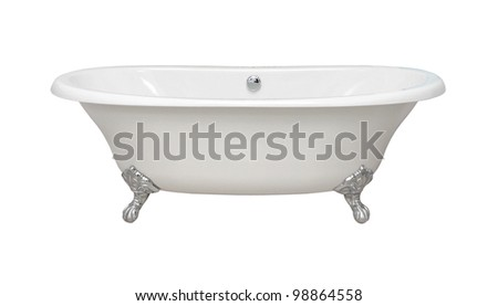 Vintage bathtub isolated with clipping path included