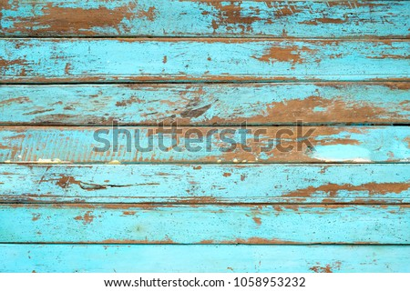 Vintage beach wood background - Old weathered wooden plank painted in blue color. #1058953232