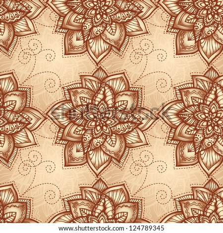 Vintage beige floral seamless pattern with doodle flowers. Vector version also exist.