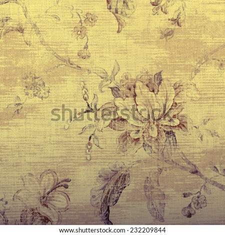 vintage beige wallpaper with shabby chic floral pattern, square toned image