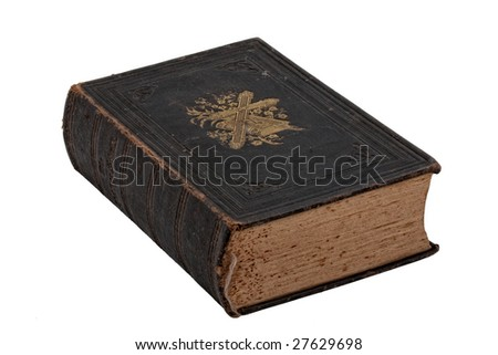 Vintage bible book isolated on white
