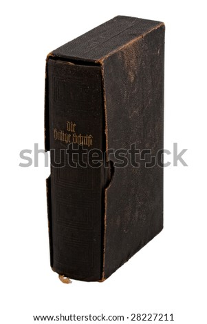 Vintage bible book isolated on white - stock photo