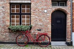 Vintage Bicycle Against House Wall