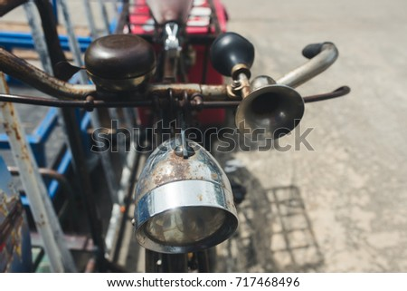 Vintage Bicycle light, bell and horn.
