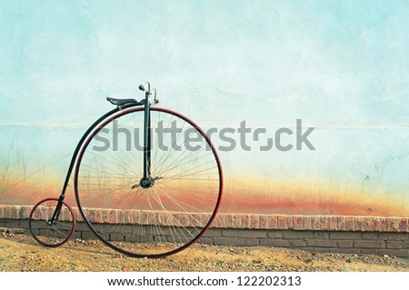 Vintage Bicycle, Penny farthing,high wheel,retro - stock photo