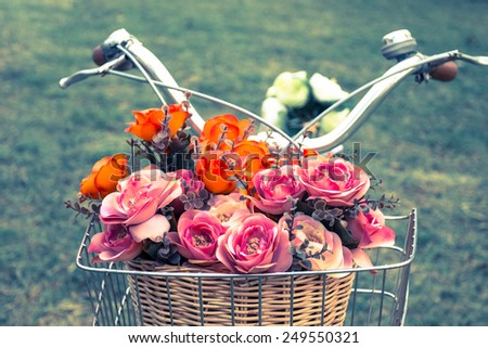 Vintage bicycle with a basket of flowers