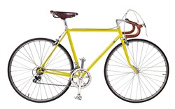 Vintage Bike,yellow bicycle,yellow Vintage race road bike,bicycle classic style,isolated white background