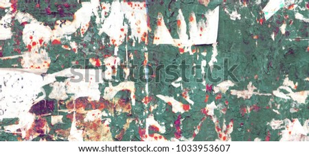 Vintage Billboard With Torn Poster, Paper, Ads, Stickers Wide Background Or Panoramic Texture. Urban Creative Wallpaper For Design. Abstract Web Banner.
