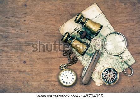 vintage binoculars  compass ...