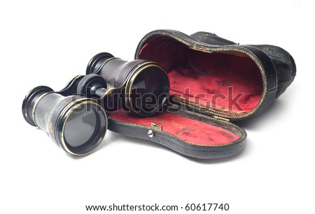 vintage binoculars isolated on...