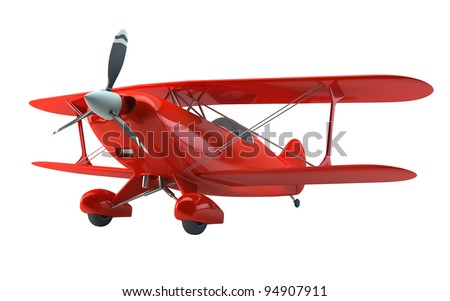 Vintage biplane isolated on white with clipping path