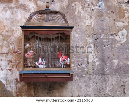 Vintage bird cage as a decoration outside old bookshop in Rome (Italy).