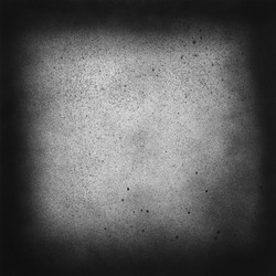 Vintage black and white speckle texture. Abstract splattered background for vignette. Square frame template