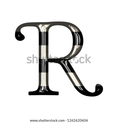 Vintage black and white striped glass letter R in a 3D illustration with shiny glass highlights & a fun striped style in a libertine font on white with clipping path Stock fotó ©