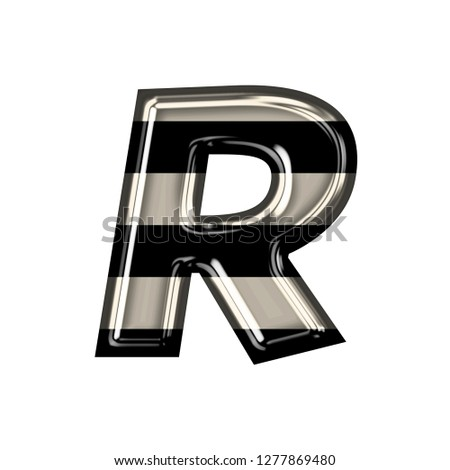 Vintage black and white striped glass letter R in a 3D illustration with shiny glass highlights & a fun striped style in a rough edge font on white with clipping path Stock fotó ©