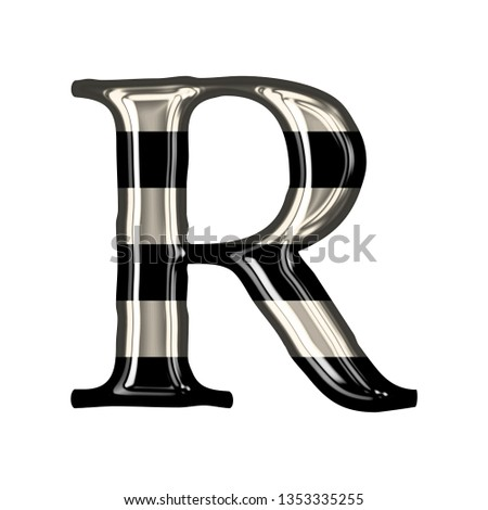 Vintage black and white striped glass letter R in a 3D illustration with shiny glass highlights & a fun striped style in a loose elegant font on white with clipping path Stock fotó ©