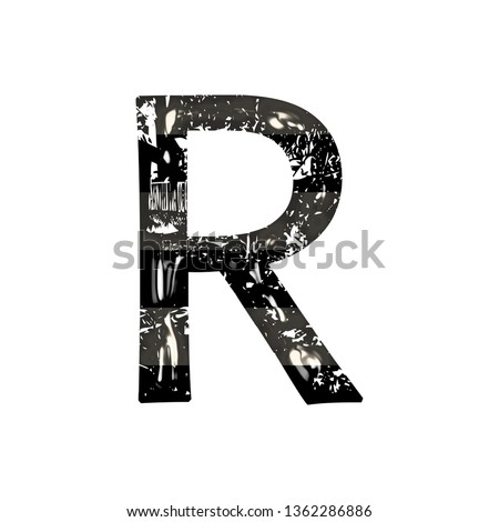 Vintage black and white striped glass letter R in a 3D illustration with shiny glass highlights & a fun striped style in a damaged font on white with clipping path Stock fotó ©