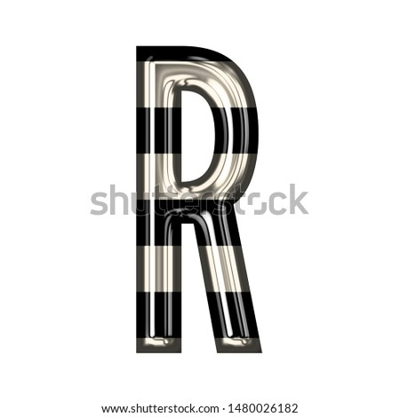 Vintage black and white striped glass letter R in a 3D illustration with shiny glass highlights & a fun striped style in a gothic font on white with clipping path Stock fotó ©