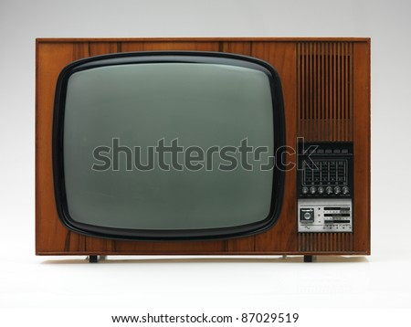 vintage black and white tv on white background, frontal view - stock photo