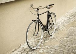 vintage black bike on a street