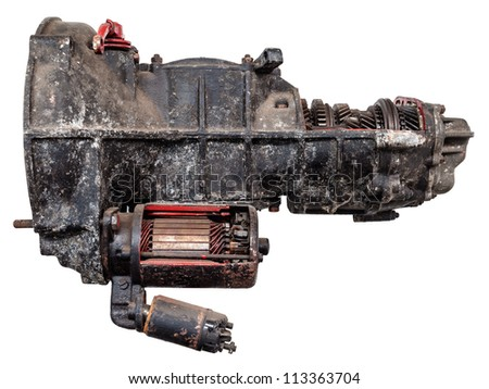 Vintage black car gearbox isolated on white with partly opened body