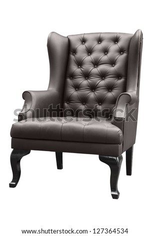 vintage black leather armchair isolated on white.