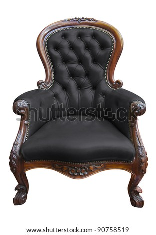 vintage black leather armchair on white with clipping path