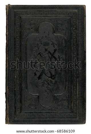 vintage black leather book cover isolated on white background