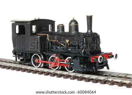 Vintage black model railway isolated on white background