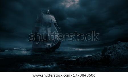 VIntage black pirate ship sailing at sea ( 3D illustration, Rendering ) Photo stock ©