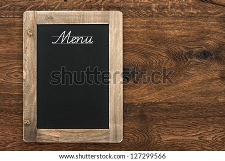 vintage blackboard with text Menu on wooden background
