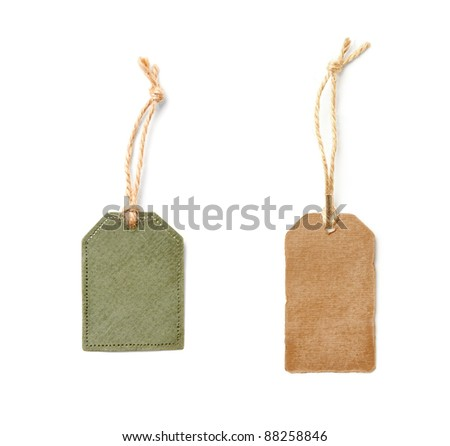 Vintage blank gift tags isolated on white background.