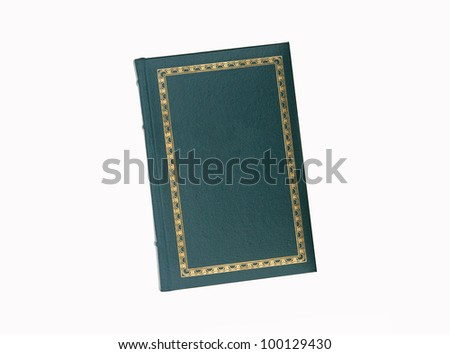 Vintage blank green book with gold trim isolated on white background