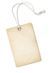 Vintage blank paper price tag or label isolated on white