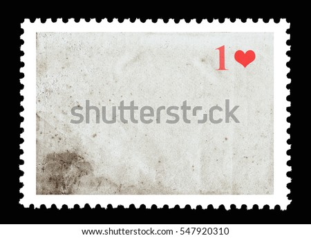 Vintage blank postage stamp and one red heart on a black background. Valentine's Day.