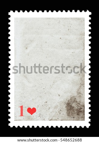 Vintage blank postage stamp and one red heart on a black background. Valentine's Day. #548652688