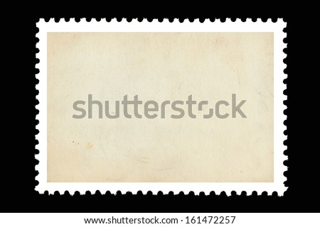 Vintage blank postage stamp on a black background #161472257