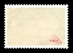 Vintage blank postage stamp with red ink  stamp