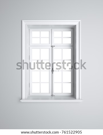 Vintage blank window inside room. 3d illustration